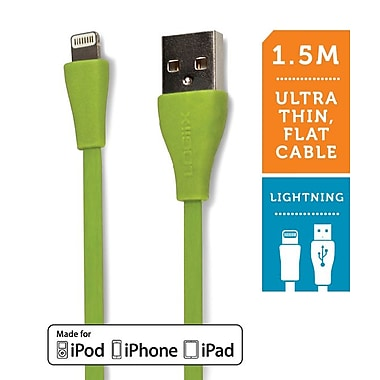 Logiix Flat Flex Jolt Lightning Cable, 1.5M, Lime