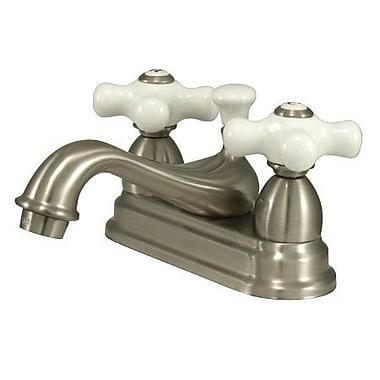 Elements of Design Centerset Bathroom Faucet w/ Double Porcelain Cross Handles; Satin Nickel