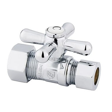 Elements of Design Decorative Quarter Turn Valves w/ Cross Handles; Polished Chrome