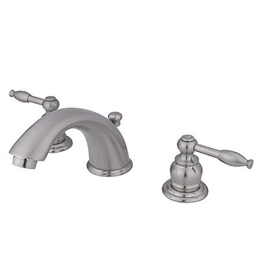 Elements of Design Magellan Widespread Bathroom Faucet w/ Double Lever Handles; Satin Nickel