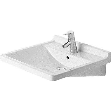 Duravit Starck 3 24'' Wall Mount Bathroom Sink w/ Overflow; Three Hole