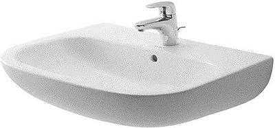 Duravit D-Code Ceramic 26'' Wall Mount Bathroom Sink w/ Overflow; Three Hole