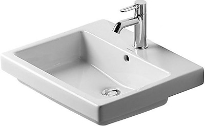 Duravit Vero Ceramic Rectangular Drop-In Bathroom Sink w/ Overflow; Single Hole