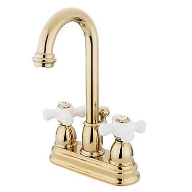 Elements of Design Centerset Bathroom Faucet w/ Double Porcelain Cross Handles; Polished Brass