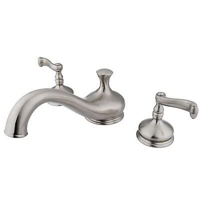 Elements of Design Double Handle Deck Mount Roman Tub Faucet Trim French Lever Handle; Satin Nickel