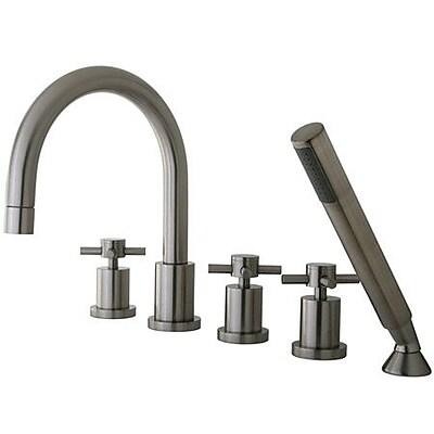 Elements of Design South Beach Triple Handle Roman Tub Filler w/ Hand Shower; Satin Nickel