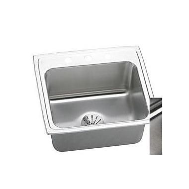 Elkay Lustertone 22'' x 20'' Drop-In Kitchen Sink w/ Drain Assembly; 1 Hole