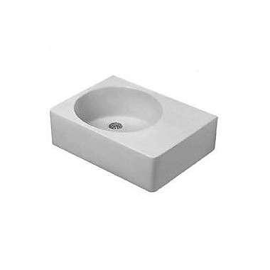 Duravit Scola Ceramic Rectangular Vessel Bathroom Sink w/ Overflow; Left Side