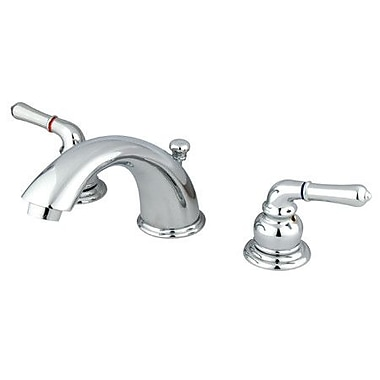 Elements of Design Widespread Double Handle Bathroom Faucet w/ Drain Assembly; Chrome