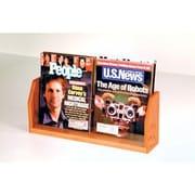 Wooden Mallet Countertop Two Pocket Magazine Display; Medium Oak