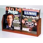 Wooden Mallet Countertop Two Pocket Magazine Display; Dark Red Mahogany