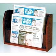Wooden Mallet Countertop 2 Pocket Newspaper Display; Dark Red Mahogany