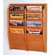 Wooden Mallet 8 Pocket Wall Mount Magazine Rack; Medium Oak