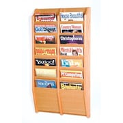 Wooden Mallet 14 Pocket Wall Mount Magazine Rack; Light Oak