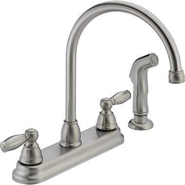 Peerless Faucets Two Handle Centerset Kitchen Faucet w/ Side Spray; Stainless Steel