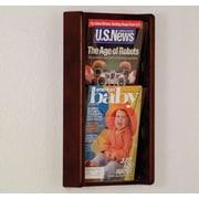 Wooden Mallet 2 Pocket Wall Display; Dark Red Mahogany