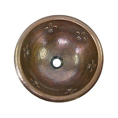 Houzer Hammerwerks Metal Circular Drop-In Bathroom Sink w/ Overflow; Copper