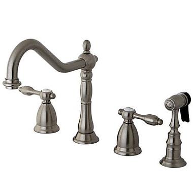 Kingston Brass Tudor Double Handle Widespread Kitchen Faucet w/ Brass Spray; Satin Nickel
