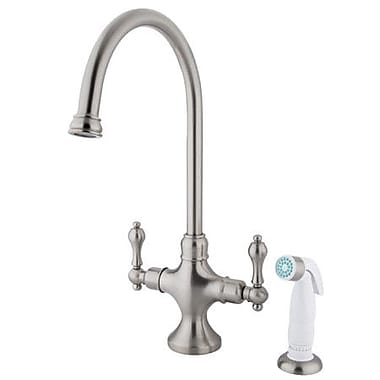 Kingston Brass Vintage Double Handle Kitchen Faucet w/ Non-Metallic Spray; Satin Nickel