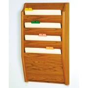 Wooden Mallet Four Pocket Chart Holder; Medium Oak