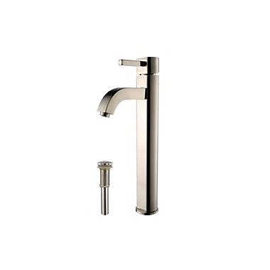 Kraus Ceramic Ceramic Specialty Vessel Bathroom Sink w/ Faucet; Satin Nickel
