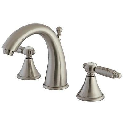 Kingston Brass Georgian Widespread Bathroom Faucet w/ Brass Pop-Up Drain; Satin Nickel