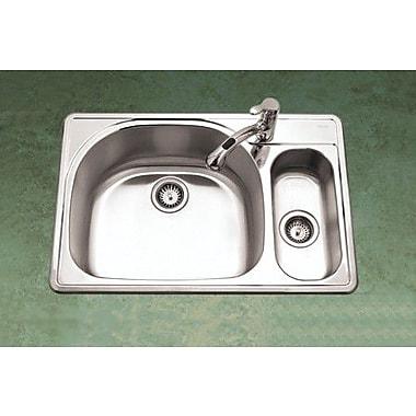 Houzer Premiere Reflection 33'' x 15.75 - 22'' Topmount Double Bowl 80/20 Kitchen Sink; Right