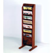 Wooden Mallet 7 Pocket Free Standing Magazine Rack; Dark Red Mahogany