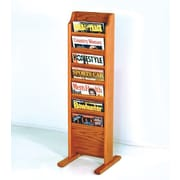 Wooden Mallet 7 Pocket Free Standing Magazine Rack; Medium Oak