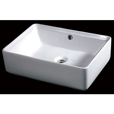 EAGO Ceramic Rectangular Vessel Bathroom Sink w/ Overflow