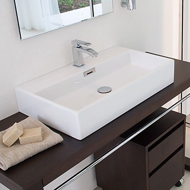 WS Bath Collections Qaurelo Rectangular Vessel Bathroom Sink w/ Overflow; No Hole
