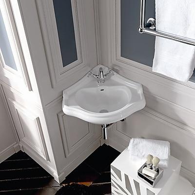 WS Bath Collections Retro Ceramic 17'' Corner Bathroom Sink w/ Overflow; Single Hole