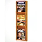 Wooden Mallet 3 Pocket Magazine Wall Display; Medium Oak