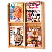 Wooden Mallet 4 Pocket Magazine Wall Display; Light Oak