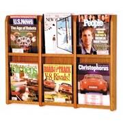 Wooden Mallet 6 Pocket Magazine Wall Display; Medium Oak
