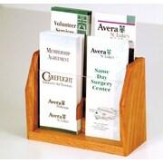 Wooden Mallet Countertop 4 Pocket Brochure Display; Medium Oak