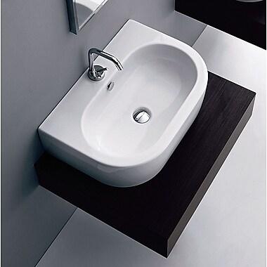 WS Bath Collections Flo Ceramic U-Shaped Vessel Bathroom Sink w/ Overflow
