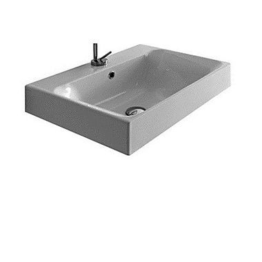 WS Bath Collections Cento Ceramic Ceramic Square Vessel Bathroom Sink