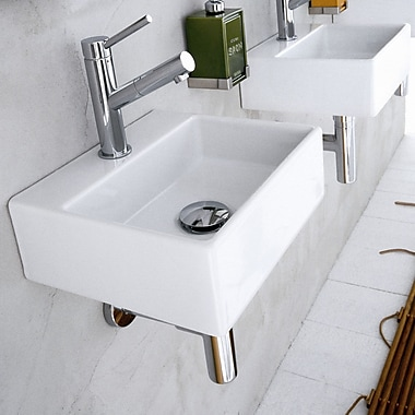 WS Bath Collections Quarelo Ceramic 12.8'' Wall mount Bathroom Sink; With Faucet Hole