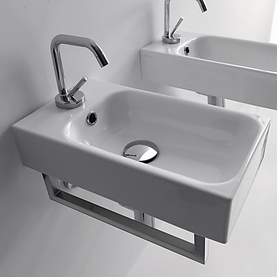 WS Bath Collections Cento Ceramic 10'' Wall Mount Bathroom Sink w/ Overflow