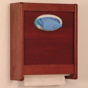 Wooden Mallet Combo Towel Dispenser and Glove/Tissue Holder; Mahogany