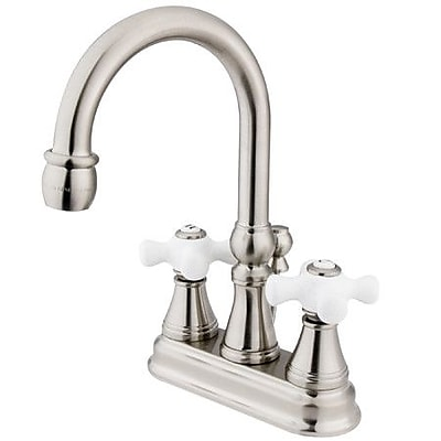 Kingston Brass Governor Centerset Bathroom Faucet w/ Brass Pop-Up Drain; Satin Nickel