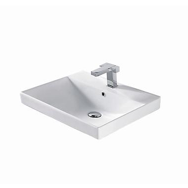 Madeli Rectangular Vessel Bathroom Sink w/ Overflow; White Ceramic with Overflow