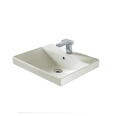 Madeli Rectangular Vessel Bathroom Sink w/ Overflow; Biscuit Ceramic with Overflow