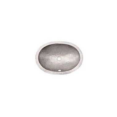 Houzer Hammerwerks Flat Lip Ellipse Oval Undermount Bathroom Sink w/ Overflow; Pewter
