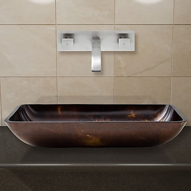 Vigo Fusion Glass Rectangular Vessel Bathroom Sink w/ Faucet; Brushed Nickel
