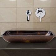 Vigo Fusion Glass Rectangular Vessel Bathroom Sink; Chrome