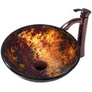 Vigo Brown and Gold Fusion Glass Circular Vessel Bathroom Sink