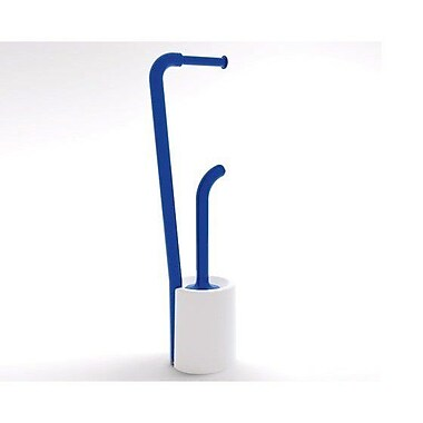 Gedy by Nameeks Wendy Bathroom Butler Free Standing Toilet Paper Holder; White and Blue