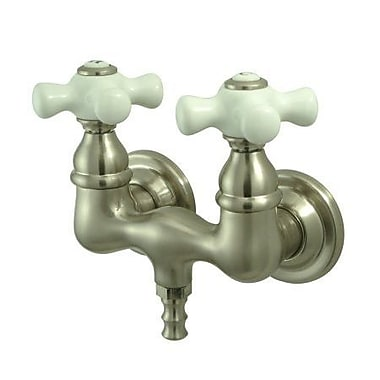 Elements of Design Vintage Double Handle Wall Mount Clawfoot Tub Faucet Trim; Satin Nickel
